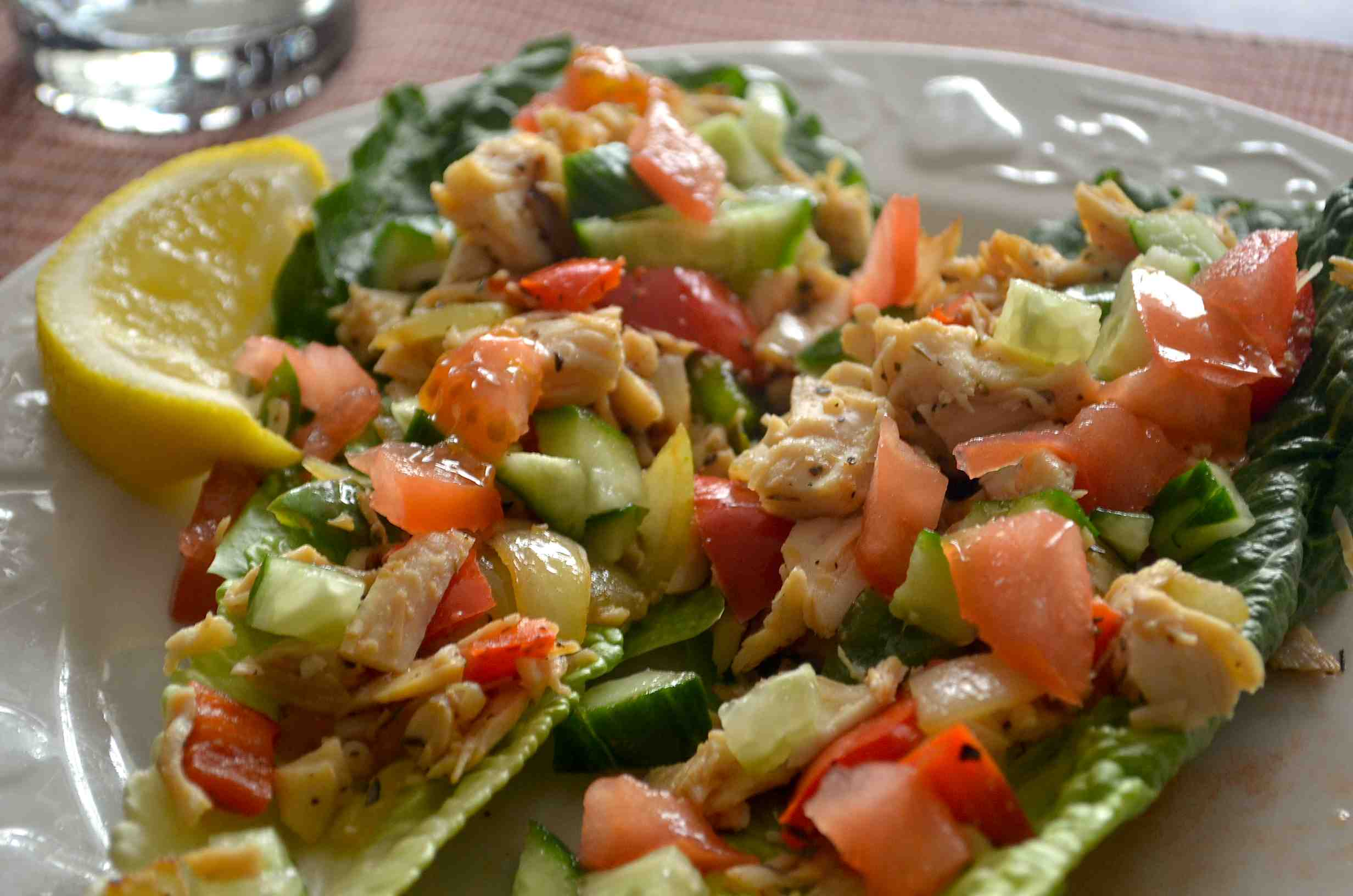 Chicken Slouvlaki Lettuce Wraps