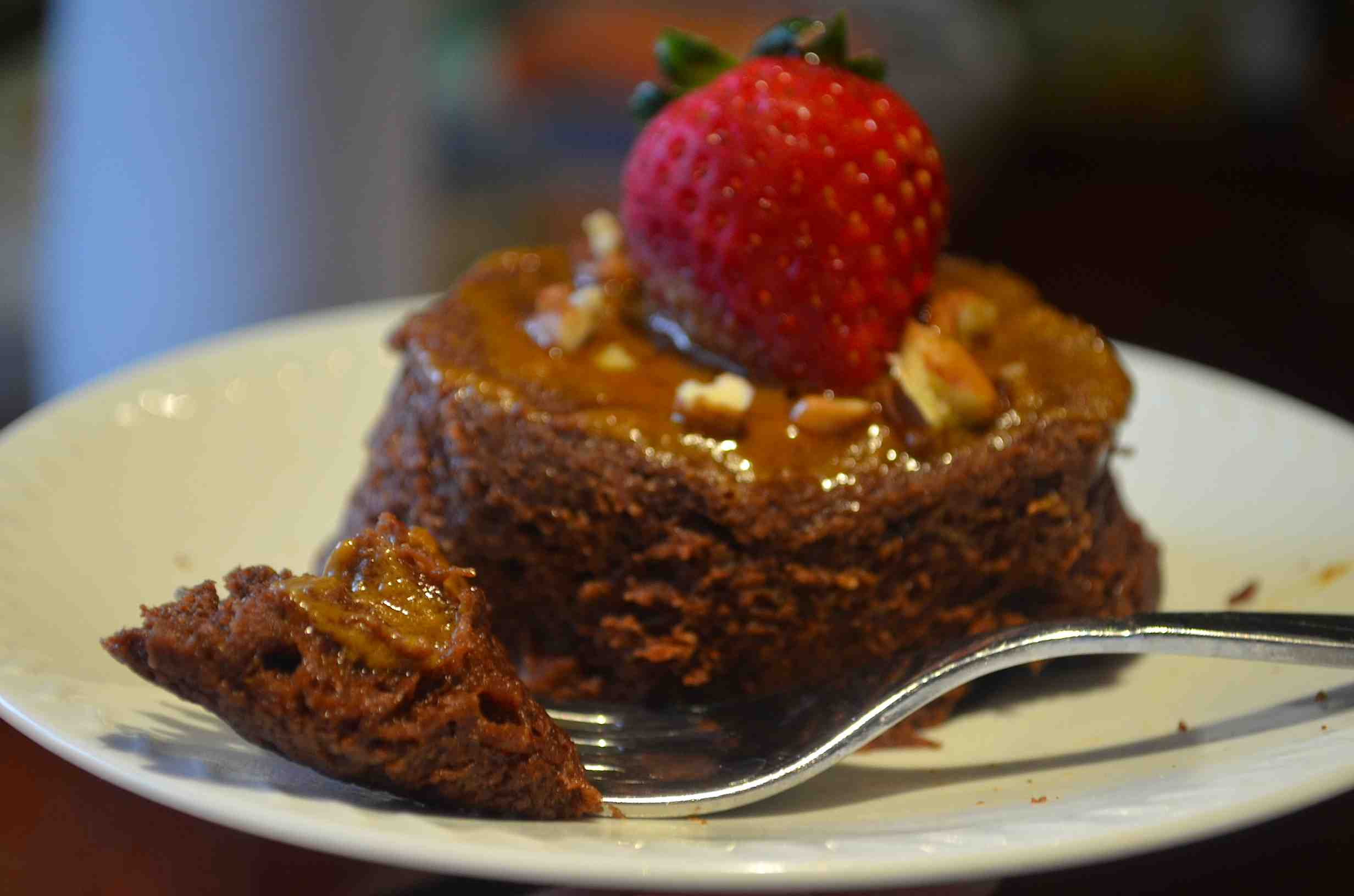 THE BEST Chocolate Protein Cake EVER with Caramel Sauce