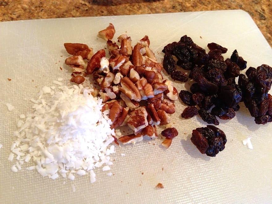 pecans coconut raisins