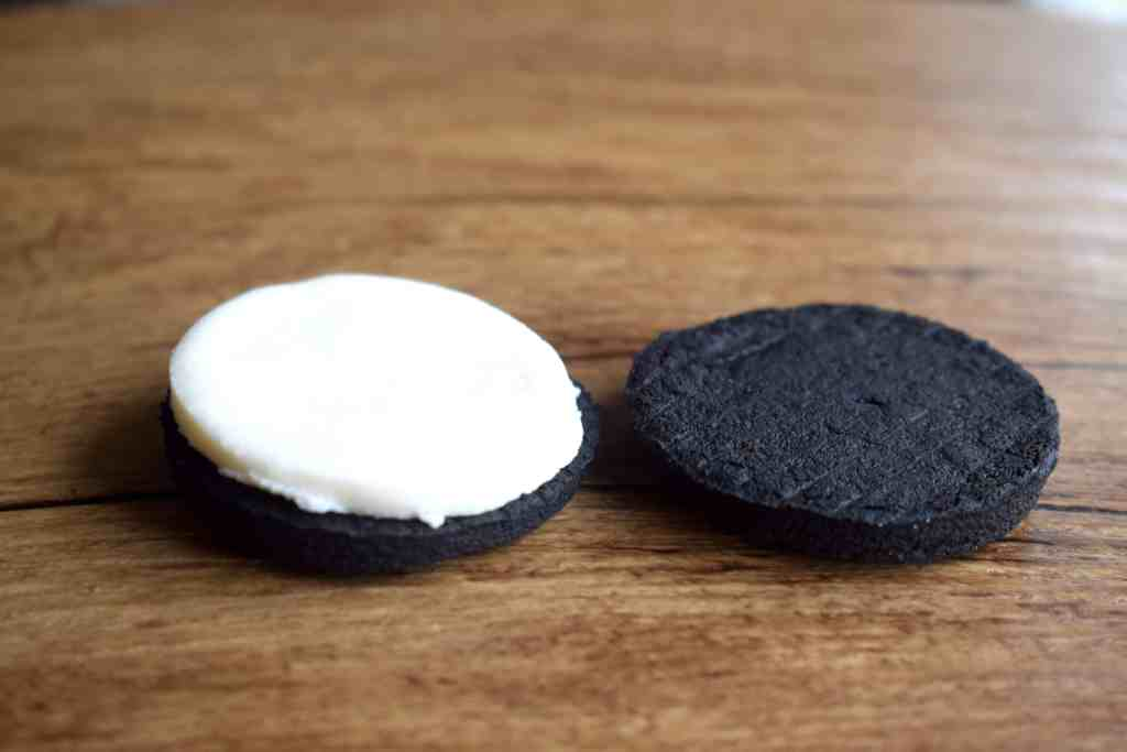 keto oreo cookie separated