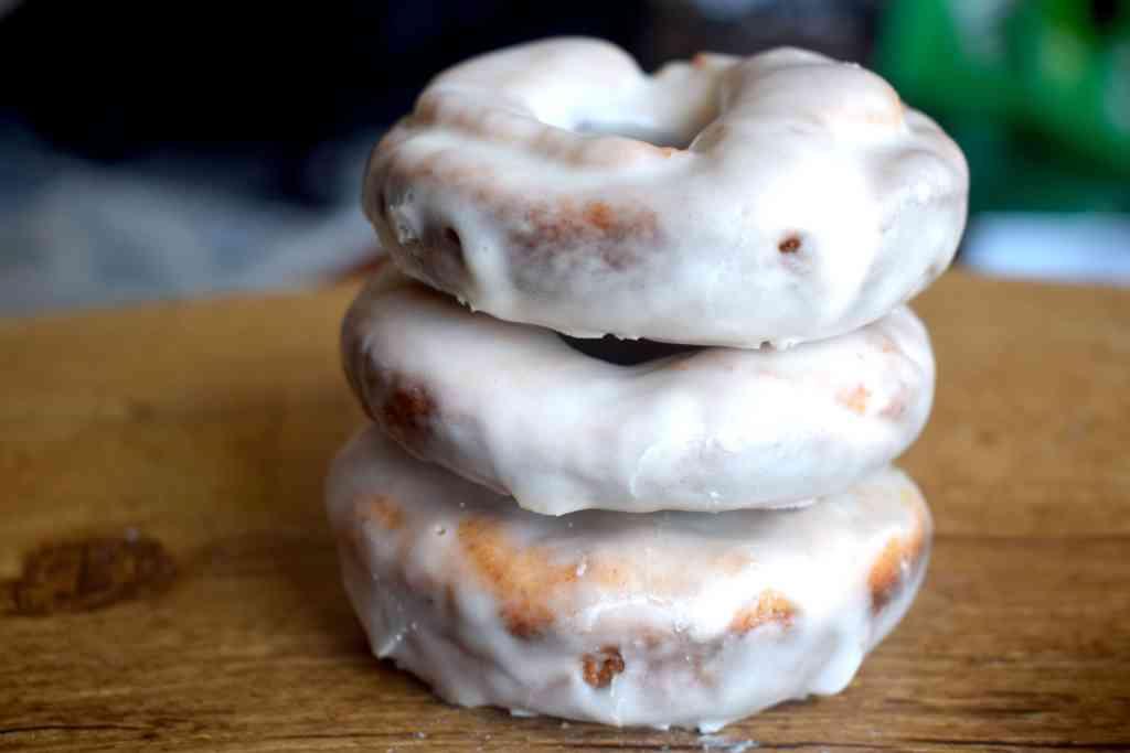 keto glazed donuts stacked