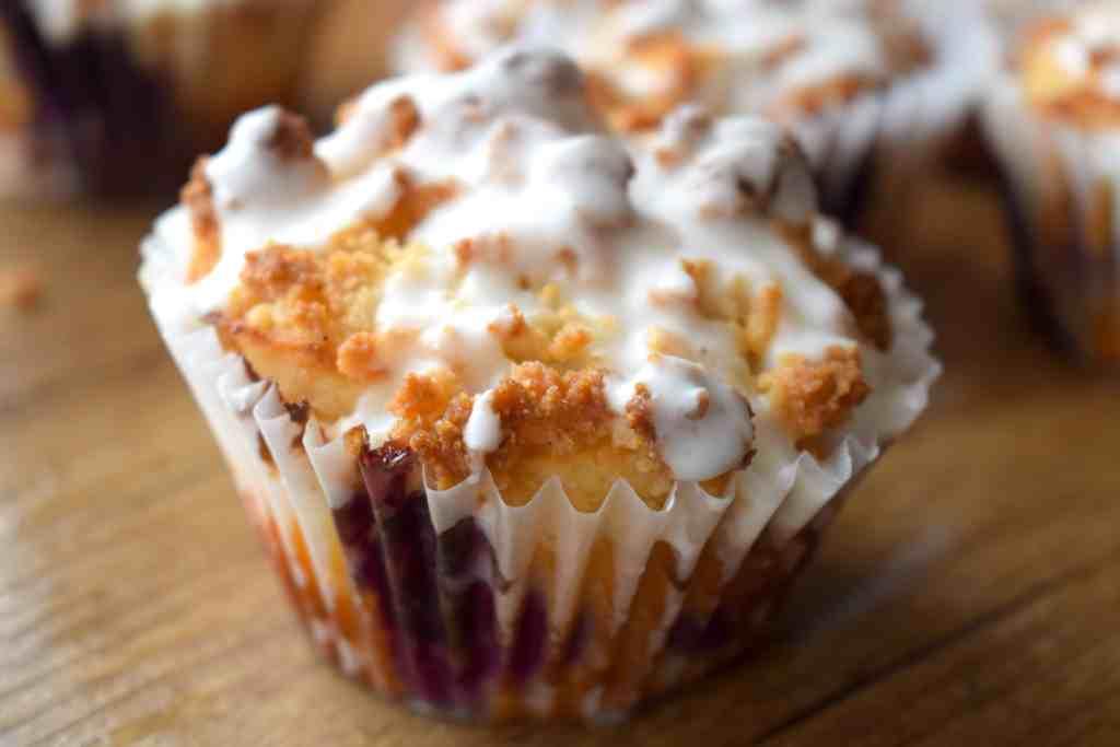 keto streusel lemon blueberry muffins