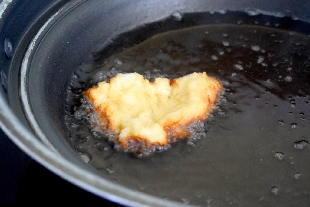 keto apple fritter frying