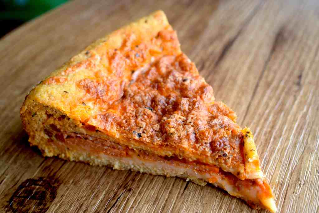 low carb deep dish pizza slice