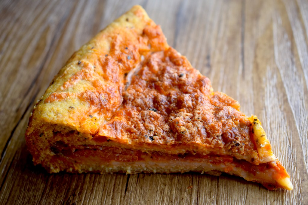 keto deep dish pizza slice
