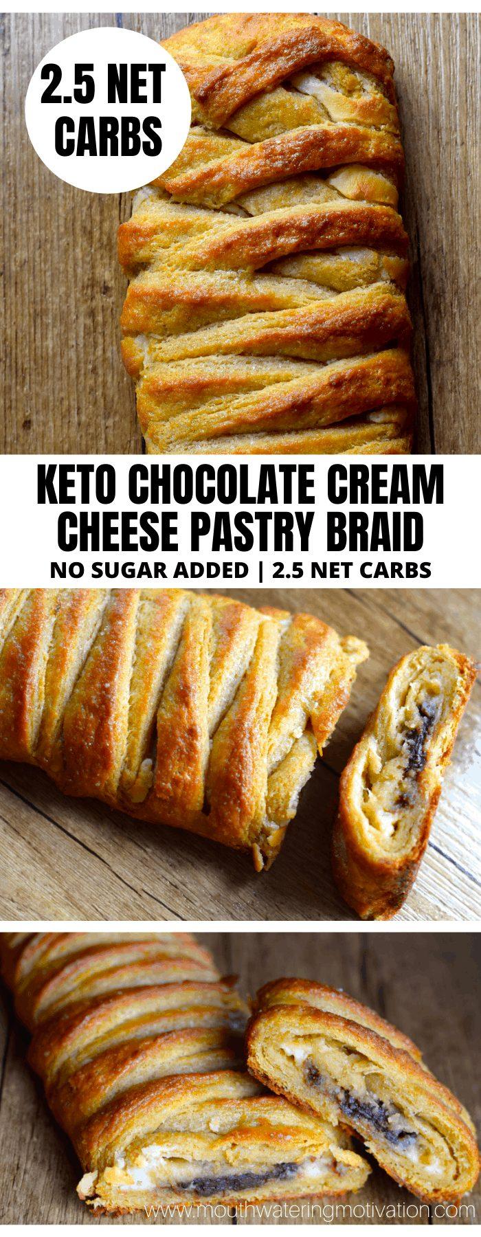 KETO CHOCOLATE CREAM CHEESE BRAID