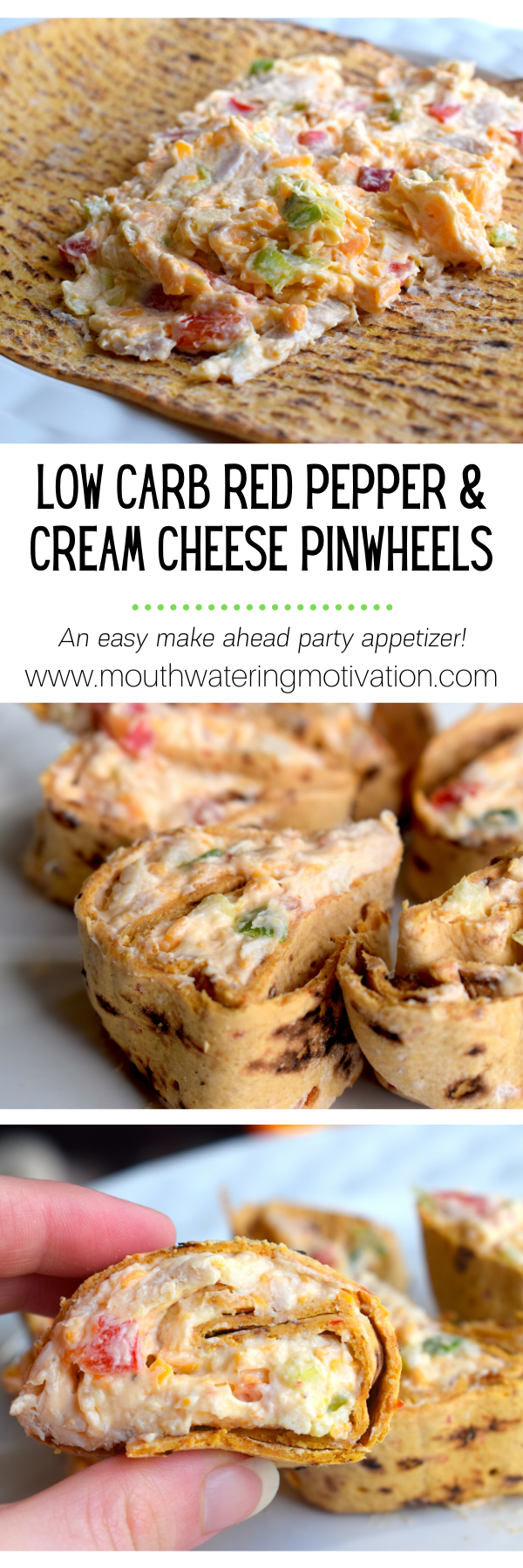 Low Carb Red Pepper & Cream Cheese Pinwheels