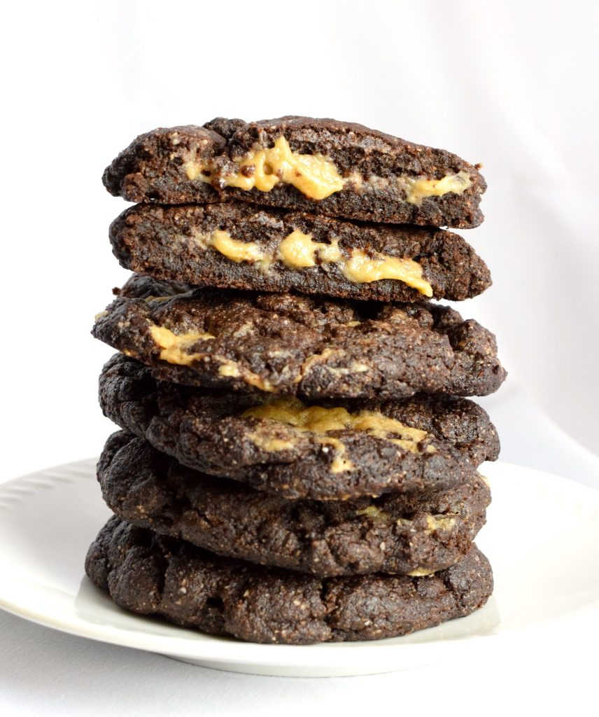 keto chocolate caramel filled cookies