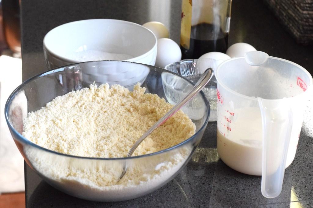 almond flour, coconut flour, heavy cream, coconut oil, eggs