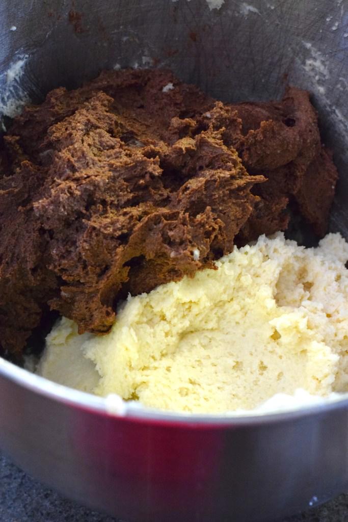 keto vanilla and chocolate cupcake batter