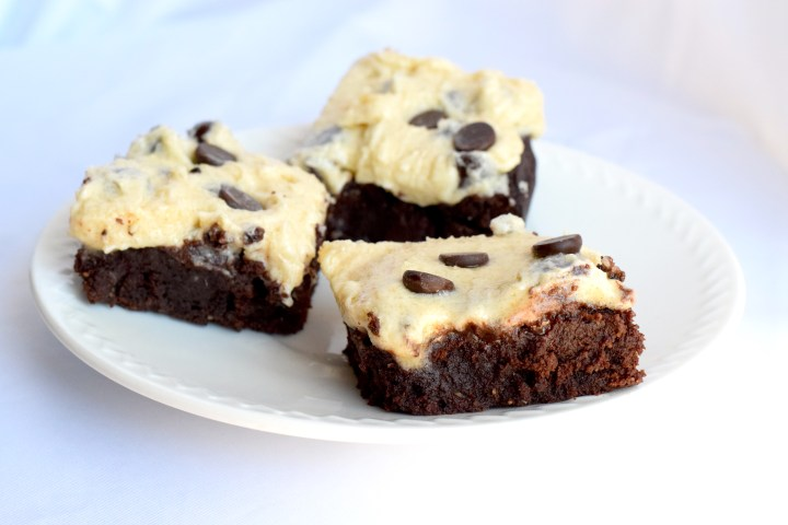 Keto Cookie Dough Frosted Brownies