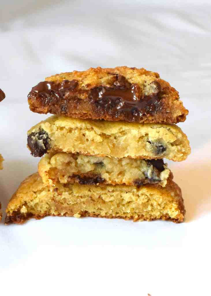 low carb chocolate chips cookies stacked