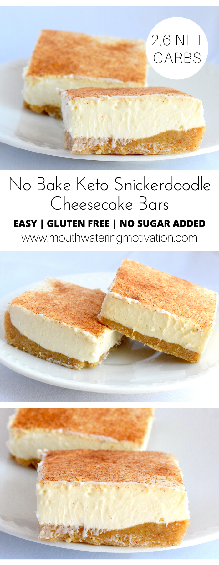No Bake Keto Snickerdoodle Cheesecake Bars