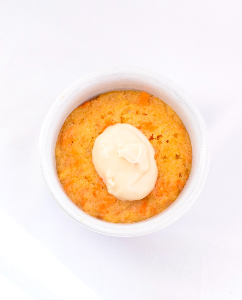 keto carrot mug cake with cream cheese frosting