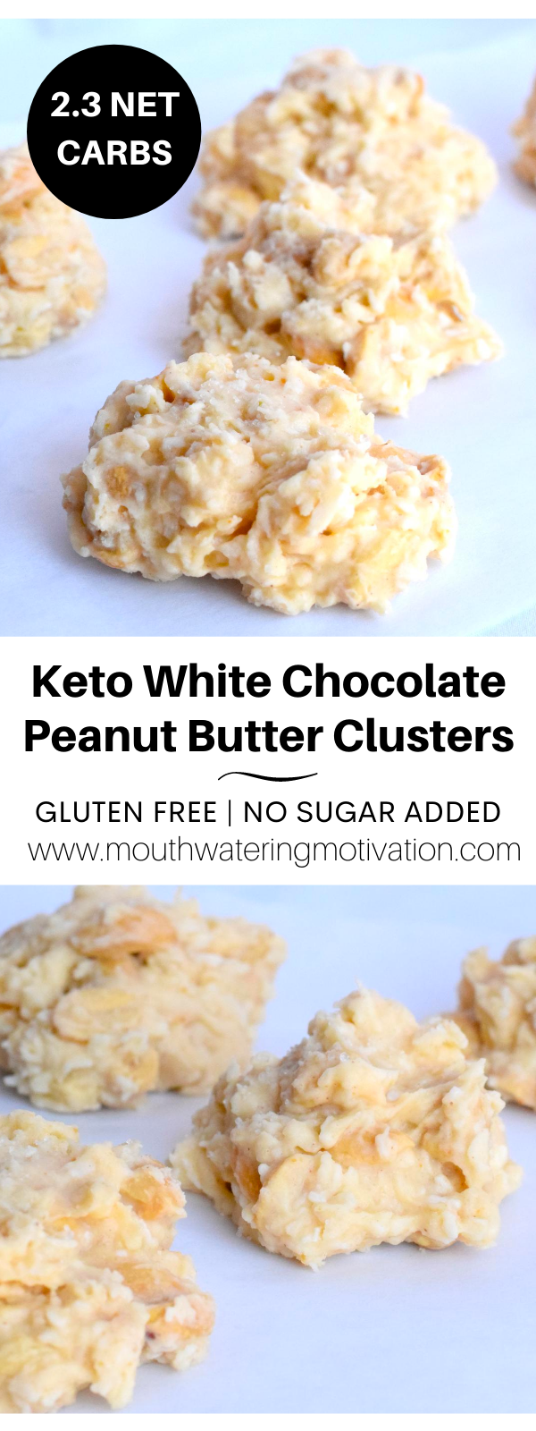 Keto White Chocolate Peanut Butter Clusters