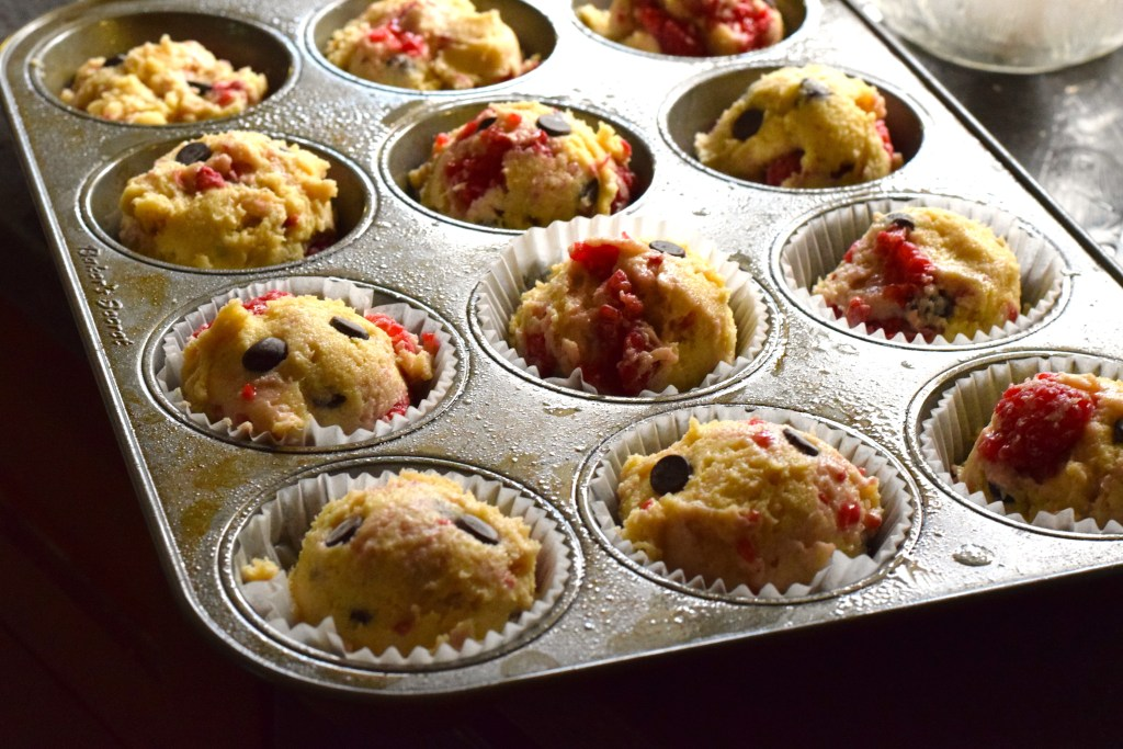 keto chocolate raspberry muffins in tins