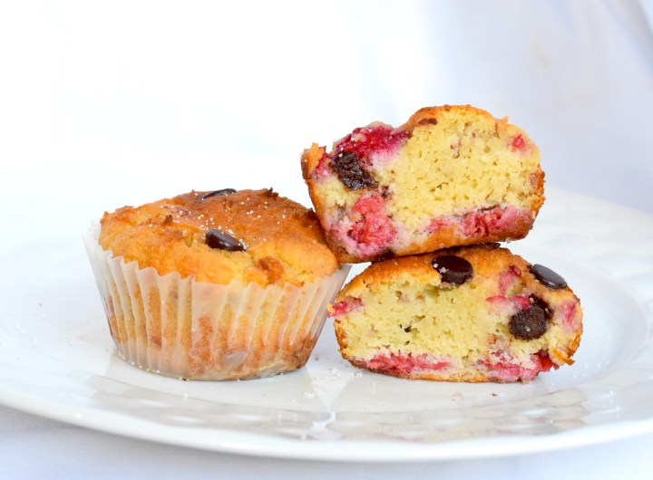 low carb chocolate raspberry muffins