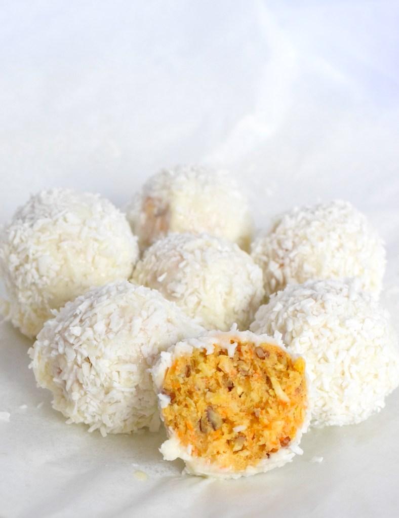 keto carrot cake balls with cream cheese glaze