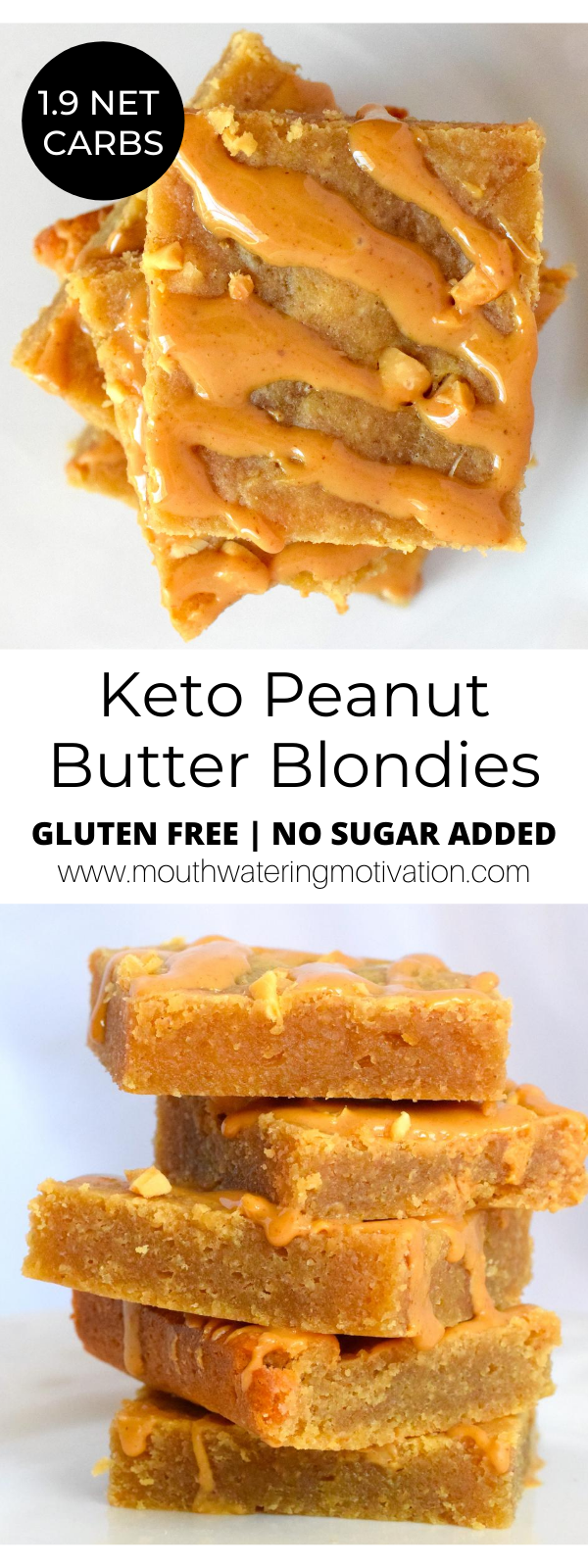 Low Carb Keto Peanut Butter Blondies