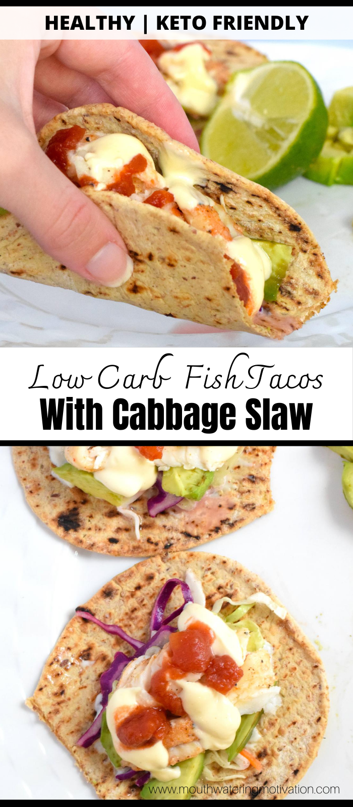 Low Carb Fish Tacos with cabbage slaw