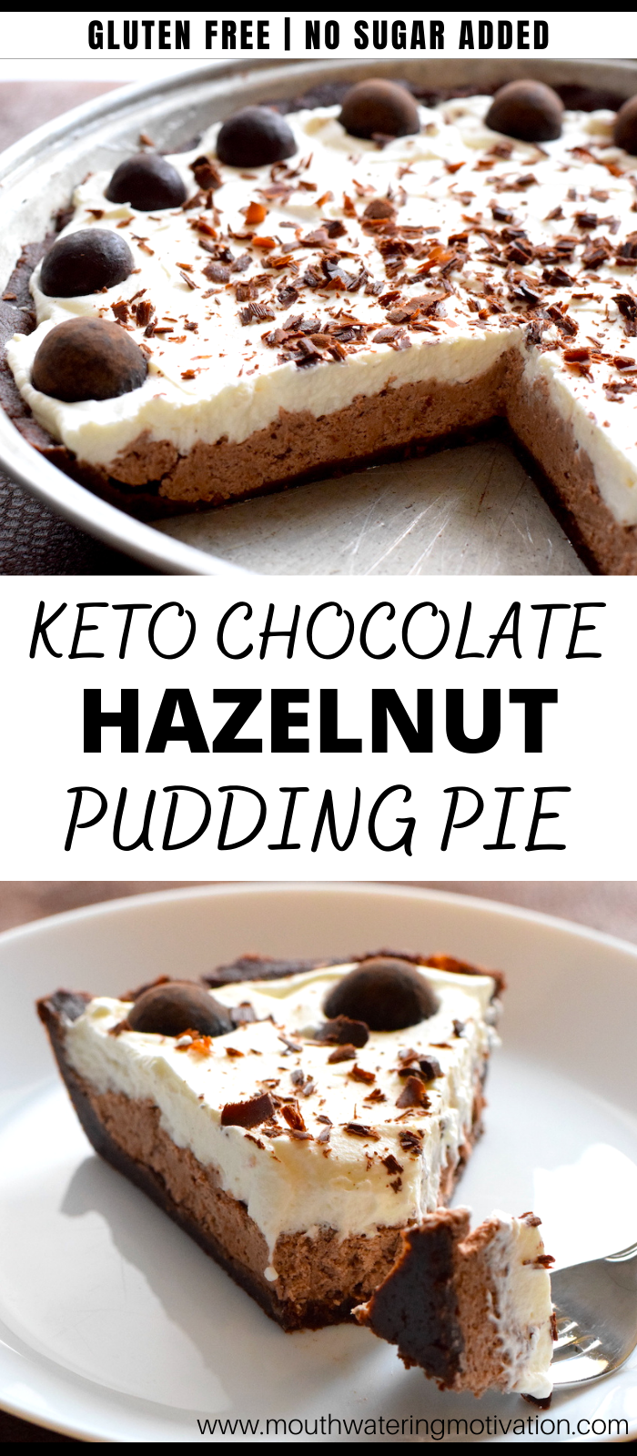 keto chocolate hazelnut pudding pie
