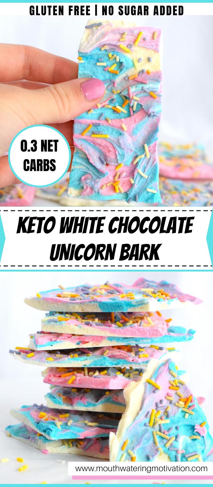 keto white chocolate unicorn bark