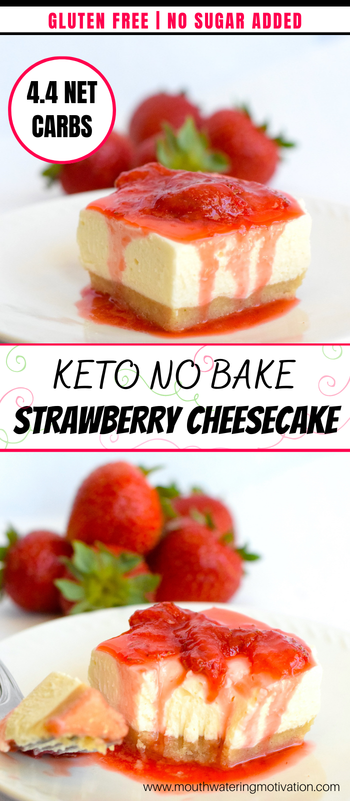 Keto no bake strawberry cheesecake 1