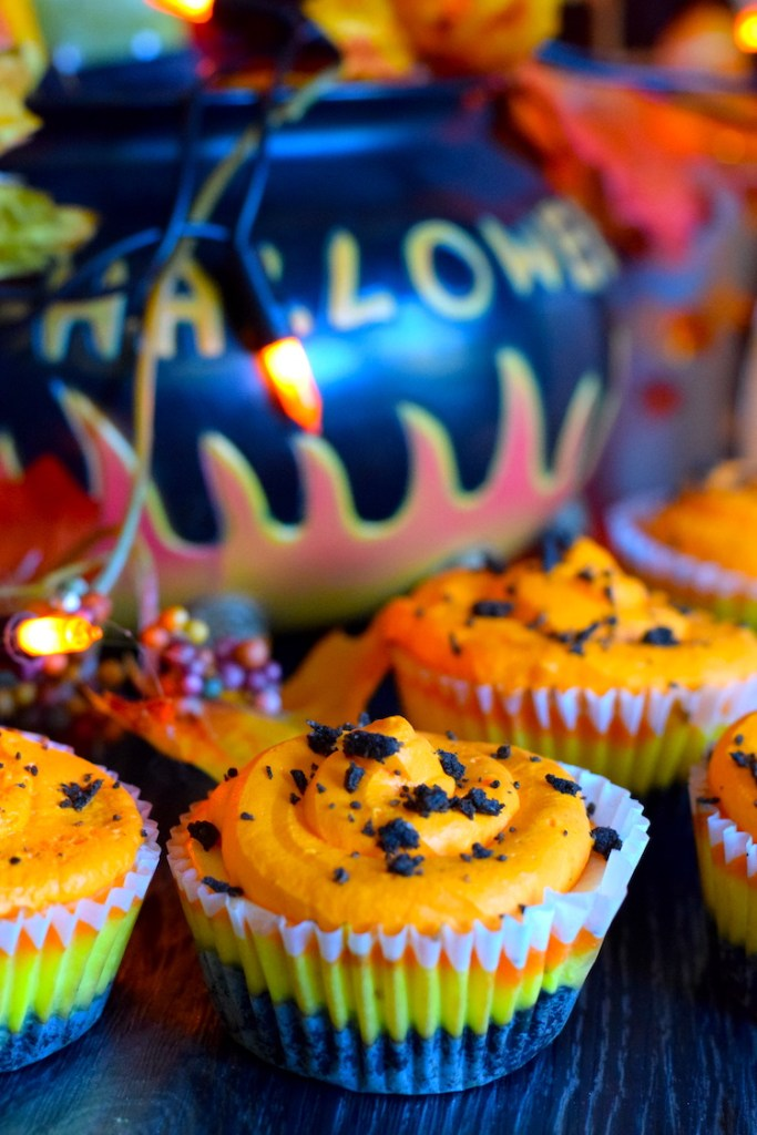 keto candy corn mini cheesecakes