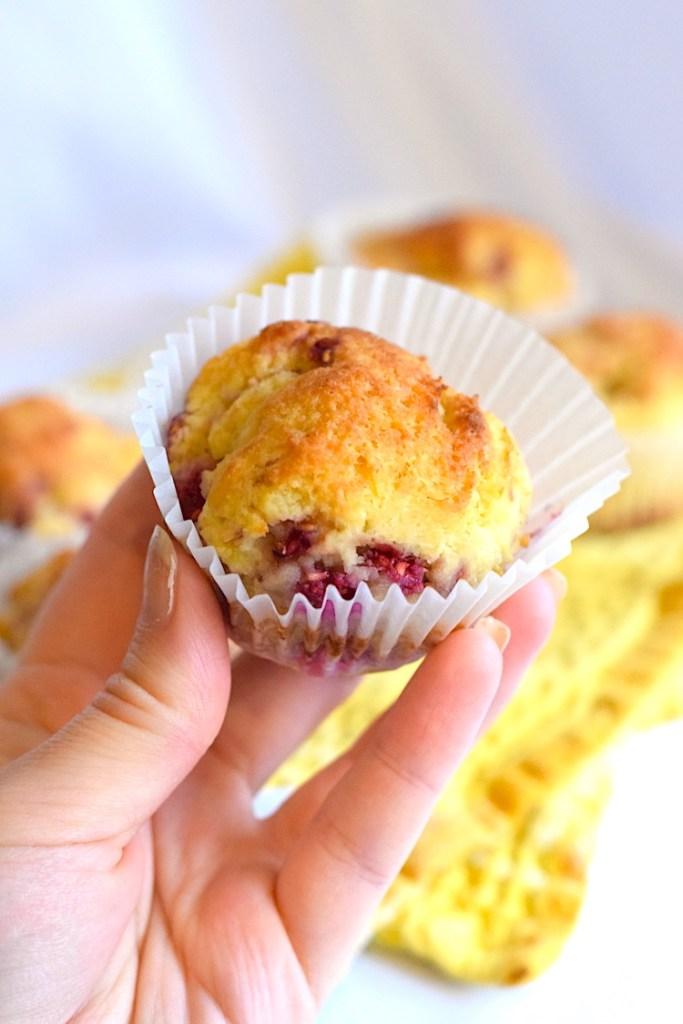 sugar free low carb lemon raspberry muffins