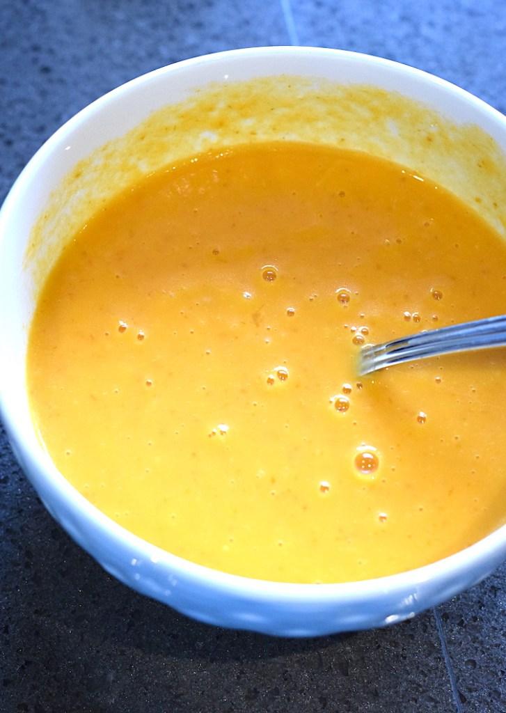 melted butter, pumpkin, eggs, vanilla