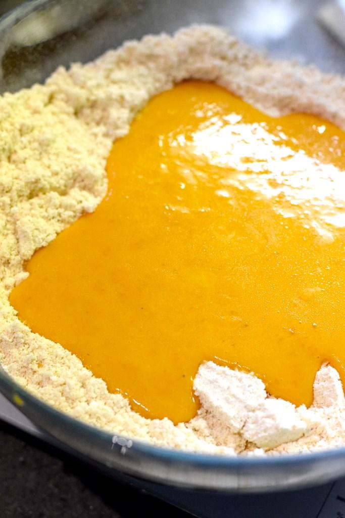 pumpkin, almond flour, eggs, butter