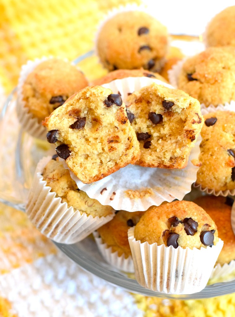 low carb mini banana chocolate chip muffins