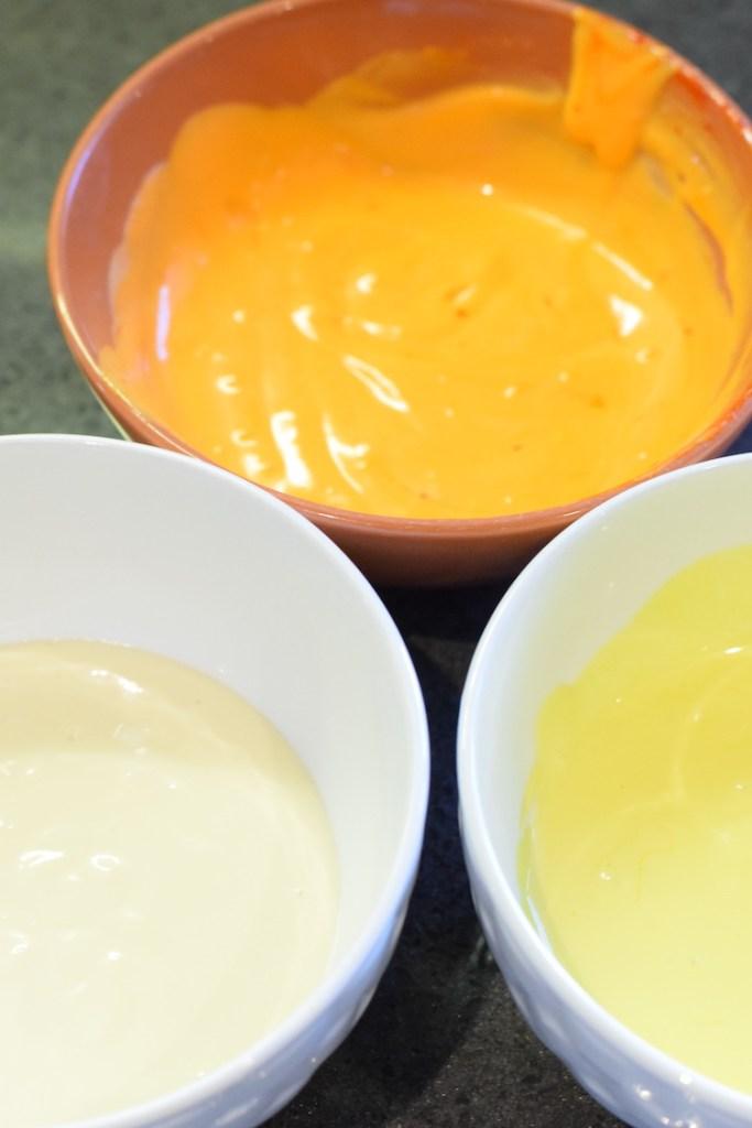 orange, yellow, white food colouring cheesecake