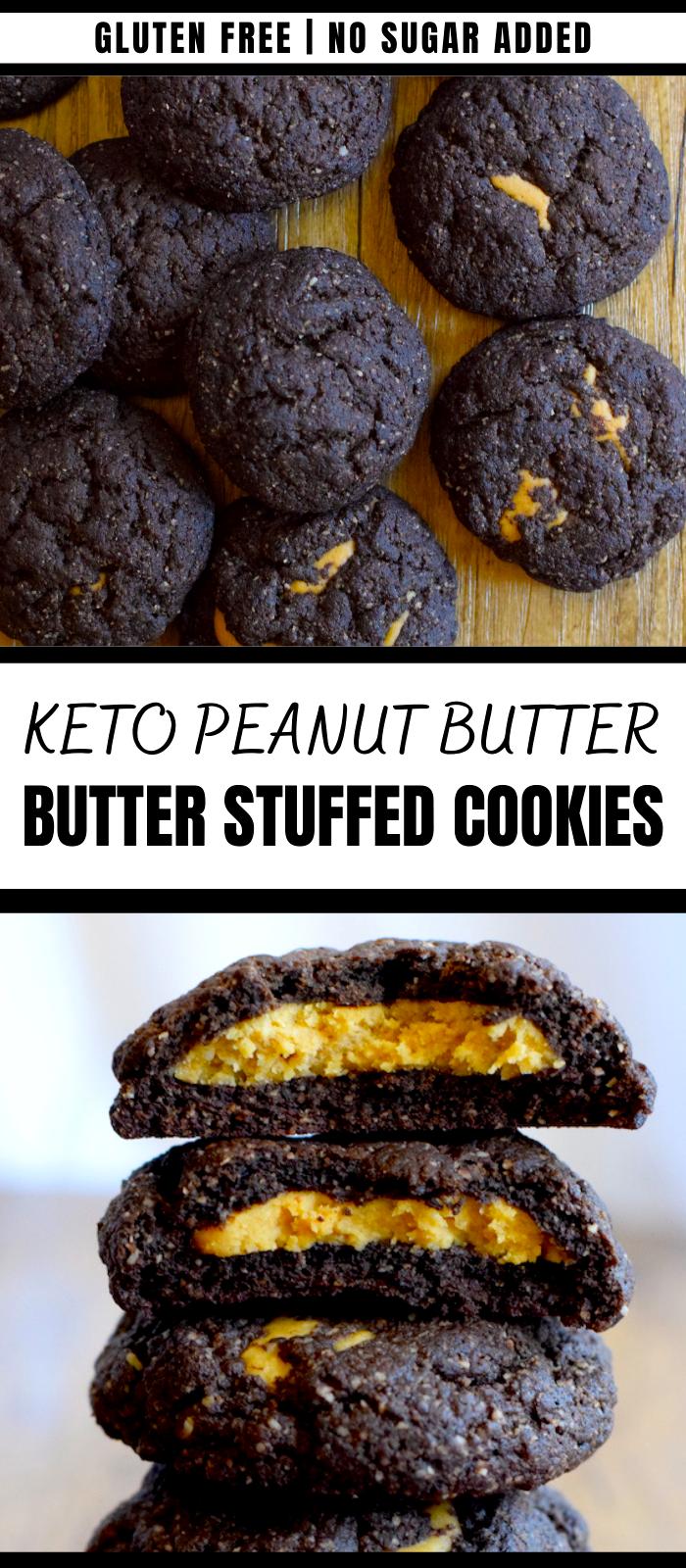 Keto Peanut Butter Stuffed Chocolate Cookies