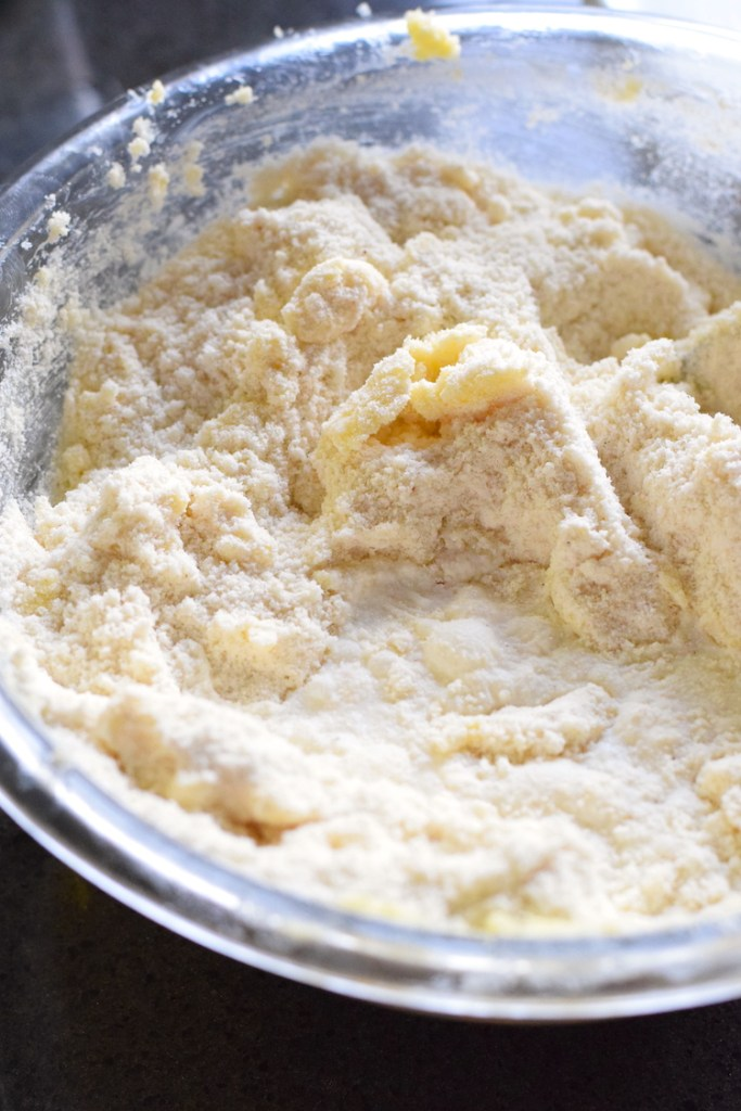 mixing dry ingredients with wet