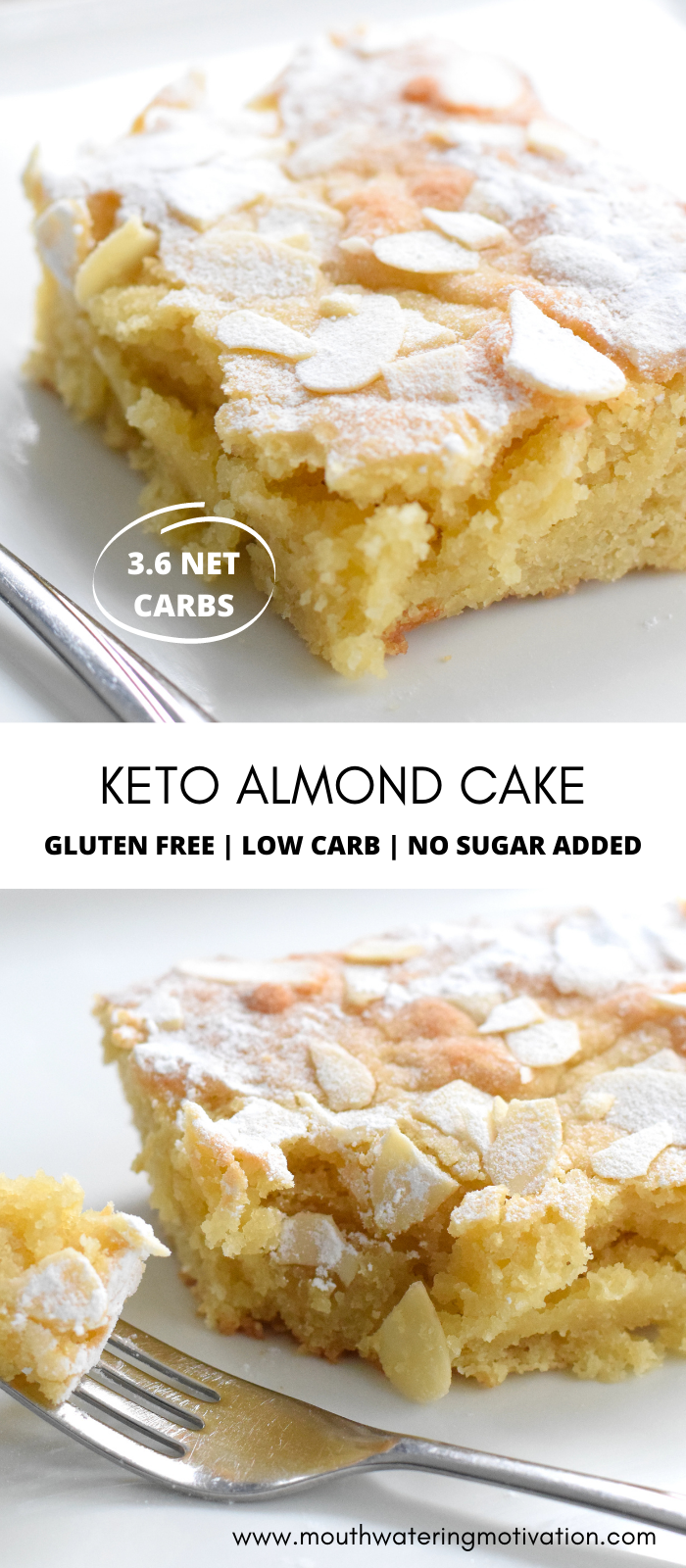 keto almond cake recipe pin