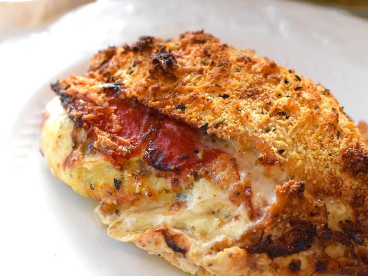 Keto Brie pesto stuffed chicken