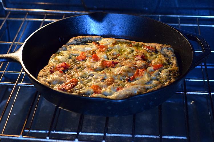 Keto cast iron skillet pizza