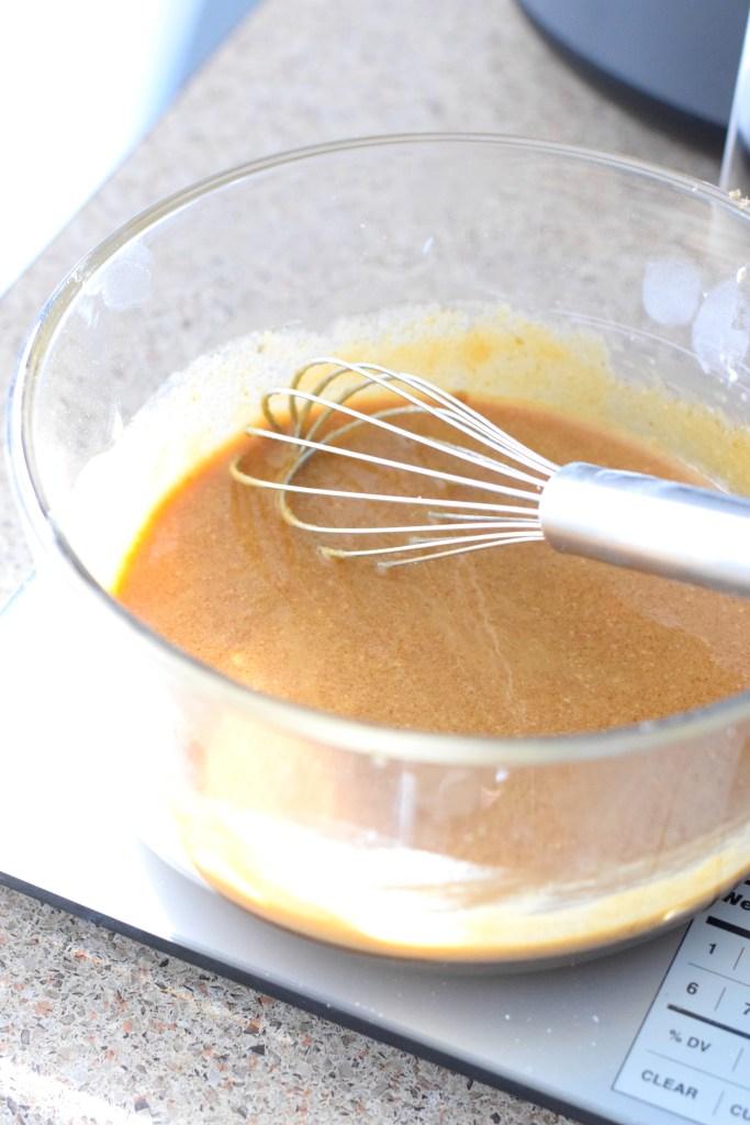 metled butter, sukrin brown, eggs