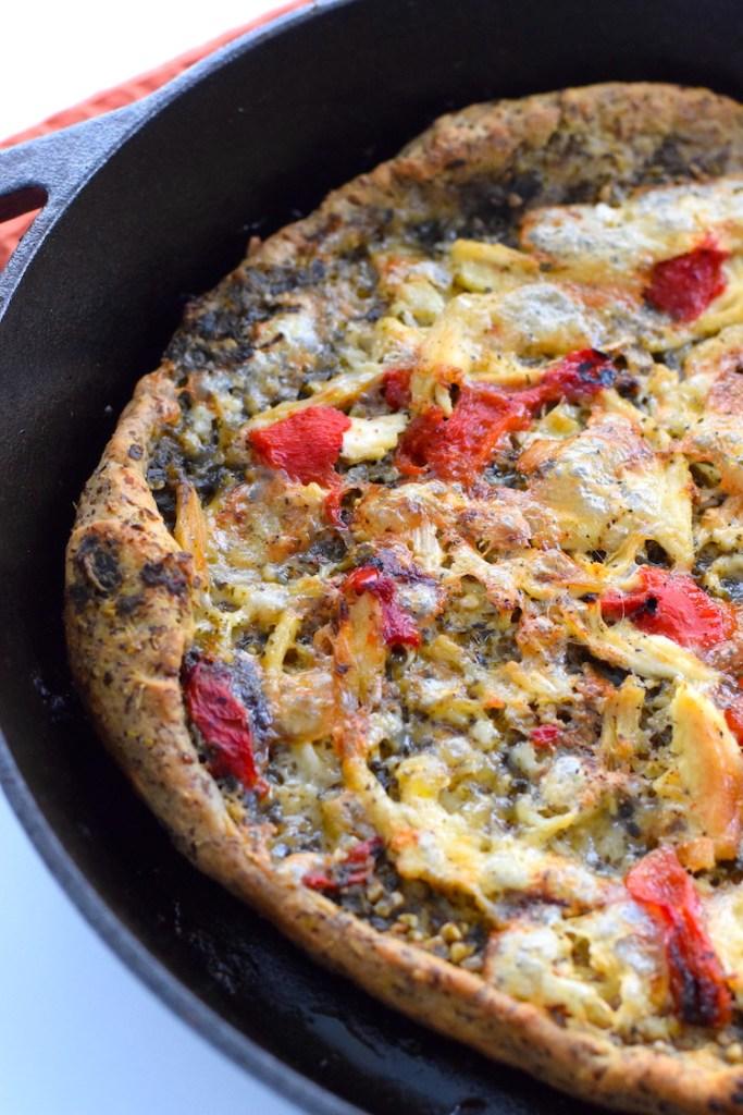 brie pesto and chicken keto pizza