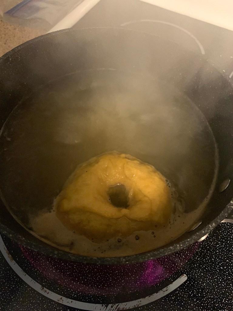 keto bagel boiling