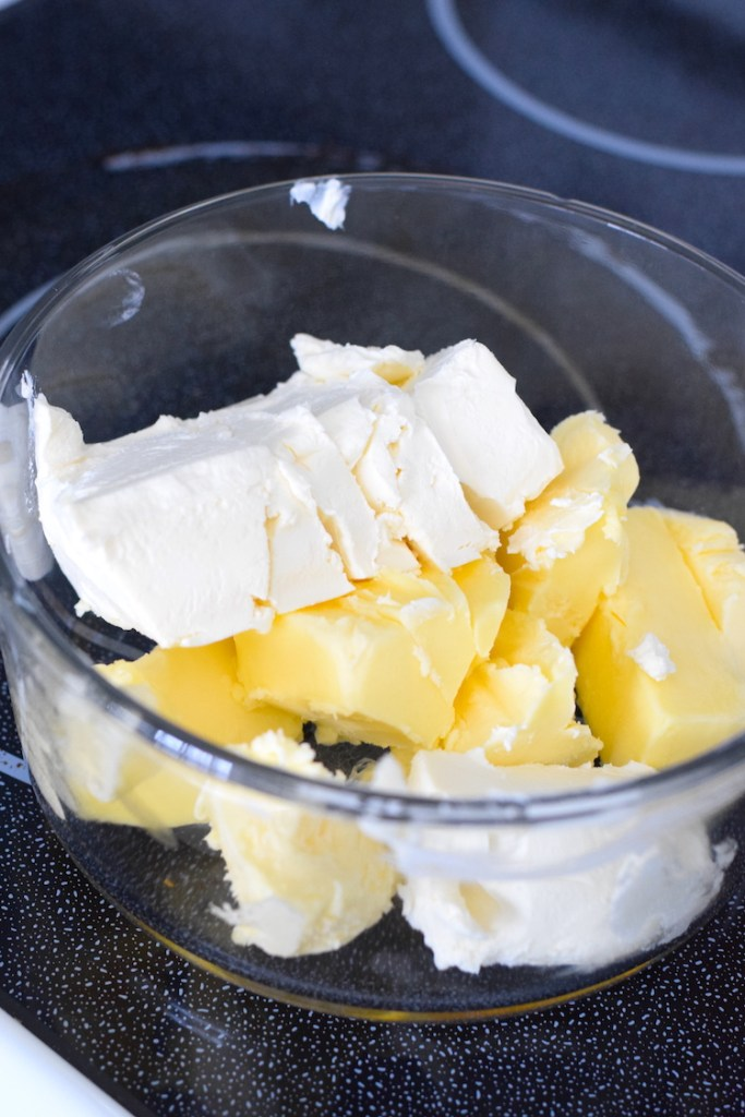 softened butter and cream cheese