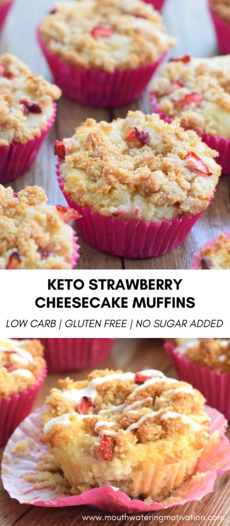 keto strawberry cheesecake muffins pins