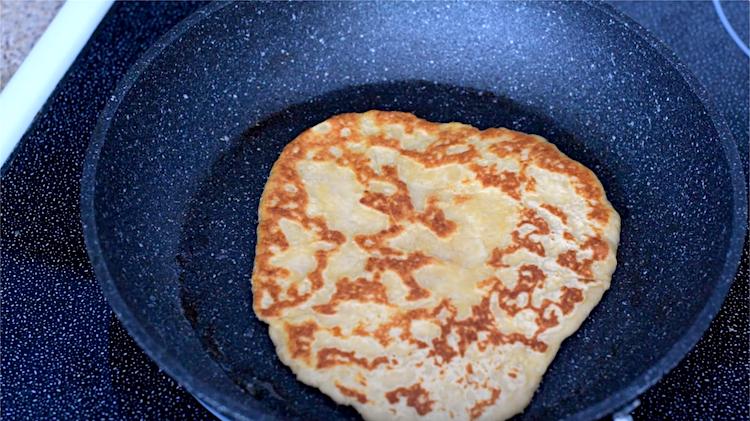 keto flatbread frying