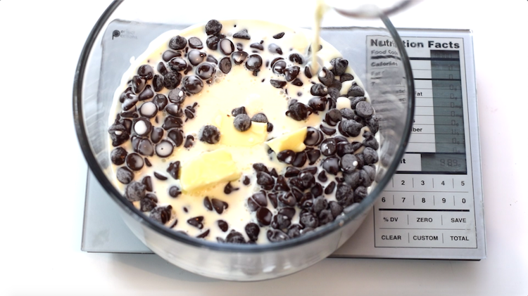 sugar free chocolate chips, butter and cream