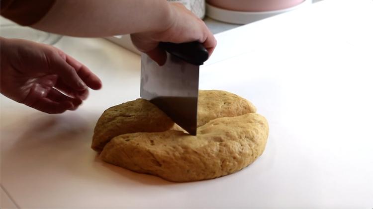 cutting keto bread dough