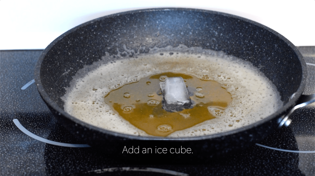 ice cube in browned butter